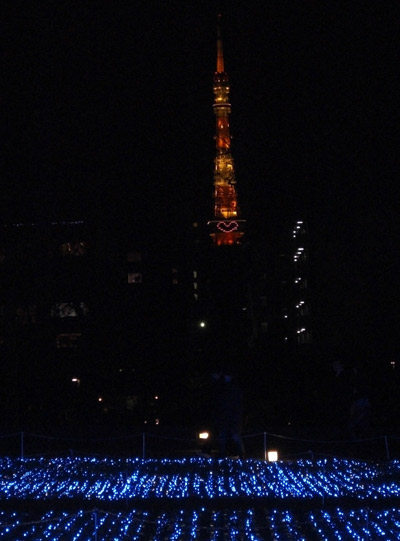 東京ミッドタウンから見た東京タワー(ハートマークが映ってます)