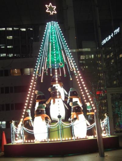 JR東日本スイカのペンギン付きイルミネーションBy新宿サザンテラス